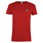 Ladies Red T Shirt-Hornet Bevel L