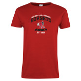 Ladies Red T Shirt-Lynchburg College Hornets