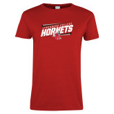 Ladies Red T Shirt-Lynchburg College Hornets Stencil
