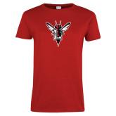 Ladies Red T Shirt-Hornet Bevel L Distressed
