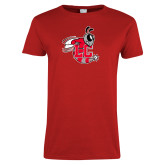 Ladies Red T Shirt-Hornet Distressed