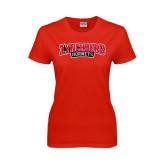 Ladies Red T Shirt-Lynchburg Hornets Wordmark