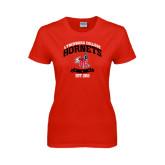 Ladies Red T Shirt-Lynchburg College Hornets