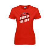 Ladies Red T Shirt-Hornet Nation