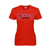Ladies Red T Shirt-Lacrosse