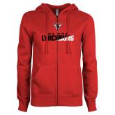 ENZA Ladies Red Fleece Full Zip Hoodie-We Are Lynchburg Two-Tone