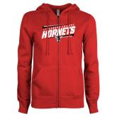 ENZA Ladies Red Fleece Full Zip Hoodie-Lynchburg College Hornets Stencil