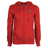 ENZA Ladies Red Fleece Full Zip Hoodie-Hornet Bevel L