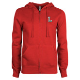 ENZA Ladies Red Fleece Full Zip Hoodie-Stinger L