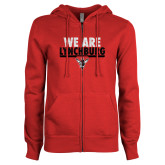 ENZA Ladies Red Fleece Full Zip Hoodie-We Are Lynchburg
