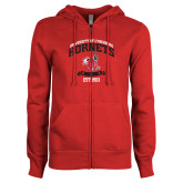 ENZA Ladies Red Fleece Full Zip Hoodie-Lynchburg College Hornets