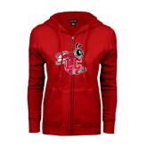 ENZA Ladies Red Fleece Full Zip Hoodie-Hornet