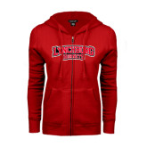 ENZA Ladies Red Fleece Full Zip Hoodie-Lynchburg Hornets
