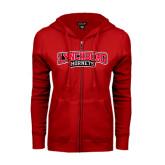 ENZA Ladies Red Fleece Full Zip Hoodie-Lynchburg Hornets Wordmark