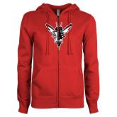 ENZA Ladies Red Fleece Full Zip Hoodie-Hornet Bevel L