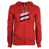 ENZA Ladies Red Fleece Full Zip Hoodie-Hornet Nation Slanted Banners