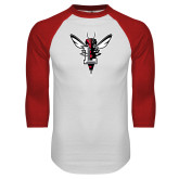 White/Red Raglan Baseball T Shirt-Hornet Bevel L