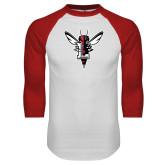 White/Red Raglan Baseball T Shirt-Hornet Bevel L