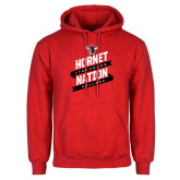 Red Fleece Hoodie-Hornet Nation Slanted Banners