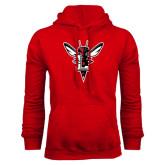 Red Fleece Hoodie-Hornet Bevel L