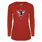Ladies Syntrel Performance Red Longsleeve Shirt-Hornet Bevel L