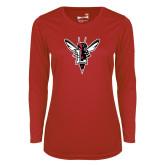 Ladies Syntrel Performance Red Longsleeve Shirt-Hornet Bevel L