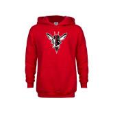 Youth Red Fleece Hood-Hornet Bevel L