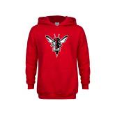 Youth Red Fleece Hoodie-Hornet Bevel L