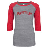 ENZA Ladies Athletic Heather/Red Vintage Baseball Tee-Arched Lynchburg Red Glitter