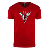 Next Level V Neck Red T Shirt-Hornet Bevel L