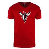 Next Level V Neck Red T Shirt-Hornet Bevel L