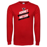Red Long Sleeve T Shirt-Hornet Nation Slanted Banners