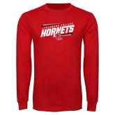Red Long Sleeve T Shirt-Lynchburg College Hornets Stencil