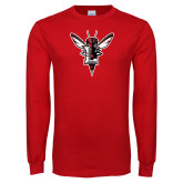 Red Long Sleeve T Shirt-Hornet Bevel L Distressed