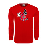 Red Long Sleeve T Shirt-Hornet Distressed