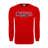 Red Long Sleeve T Shirt-Lynchburg Hornets Wordmark