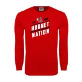 Red Long Sleeve T Shirt-Hornet Nation