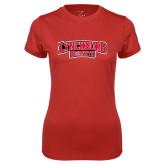 Ladies Syntrel Performance Red Tee-Lynchburg Hornets