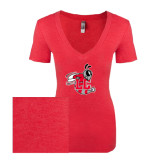 Next Level Ladies Vintage Red Tri Blend V-Neck Tee-Hornet