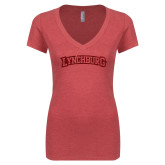 Next Level Ladies Vintage Red Tri Blend V Neck Tee-Arched Lynchburg Red Glitter
