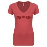 Next Level Ladies Vintage Red Tri Blend V Neck Tee-Arched Lynchburg Red Glitter