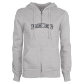 ENZA Ladies Grey Fleece Full Zip Hoodie-Arched Lynchburg Graphite Glitter