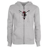 ENZA Ladies Grey Fleece Full Zip Hoodie-Hornet Bevel L