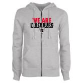 ENZA Ladies Grey Fleece Full Zip Hoodie-We Are Lynchburg