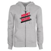 ENZA Ladies Grey Fleece Full Zip Hoodie-Hornet Nation Slanted Banners