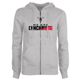 ENZA Ladies Grey Fleece Full Zip Hoodie-We Are Lynchburg Two-Tone