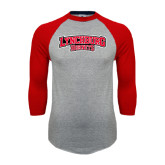 Grey/Red Raglan Baseball T-Shirt-Lynchburg Hornets