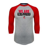 Grey/Red Raglan Baseball T-Shirt-We Are Lynchburg