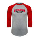 Grey/Red Raglan Baseball T-Shirt-Lynchburg Hornets Wordmark