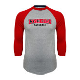 Grey/Red Raglan Baseball T-Shirt-Baseball